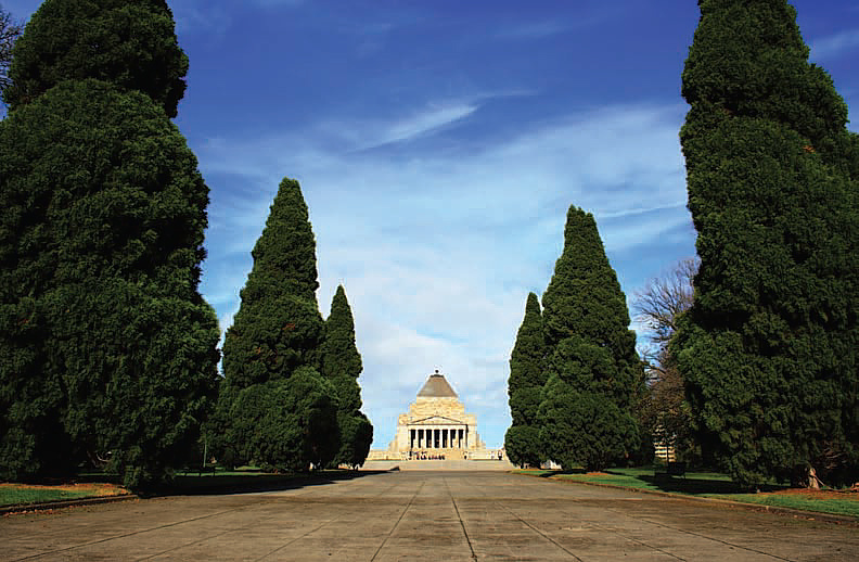 Figure 1. the shrine of remembrance in Melbourne, Victoria, Australia, approached along the avenue from the west.